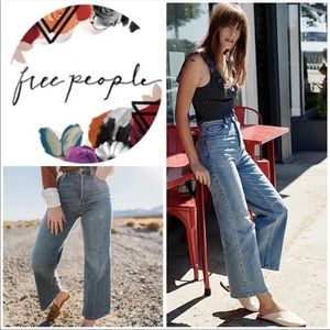 Free People Button Fly Wide leg Jeans